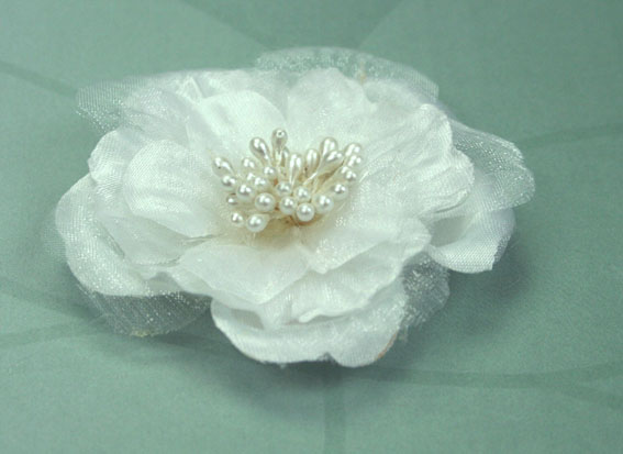 Heirloom 6.5cm Silk and Organza Flowers White 12 pcs