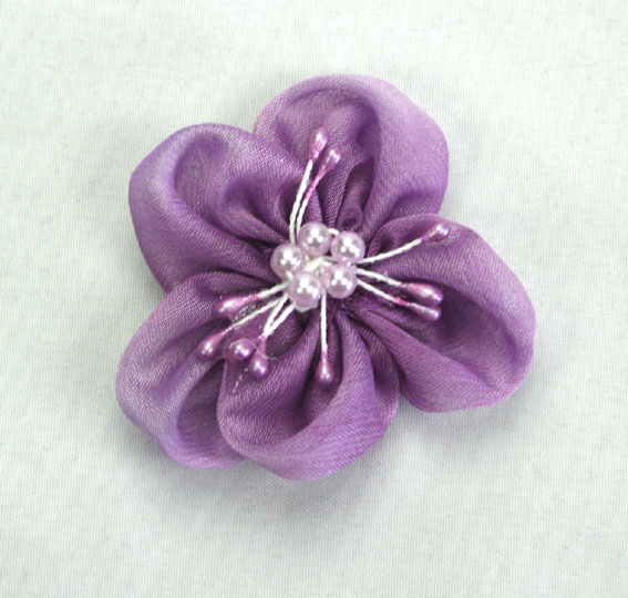 Sakura 5cm Silk and Pearl Flowers Dark Lavender 12 pcs