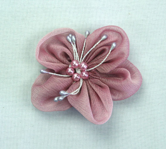 Sakura 5cm Silk and Pearl Flowers Dusky Pink 12 pcs