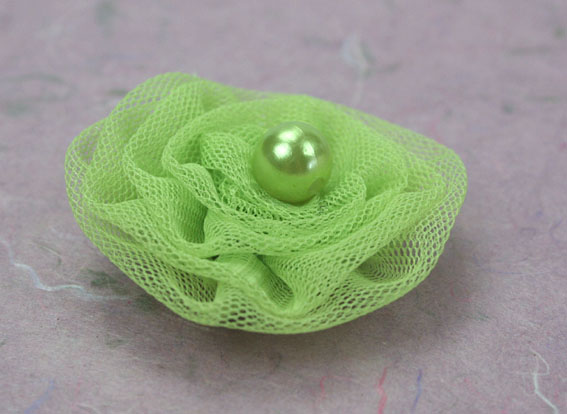 Tutu 5cm Organza and Pearl Flowers Lime 12 pcs