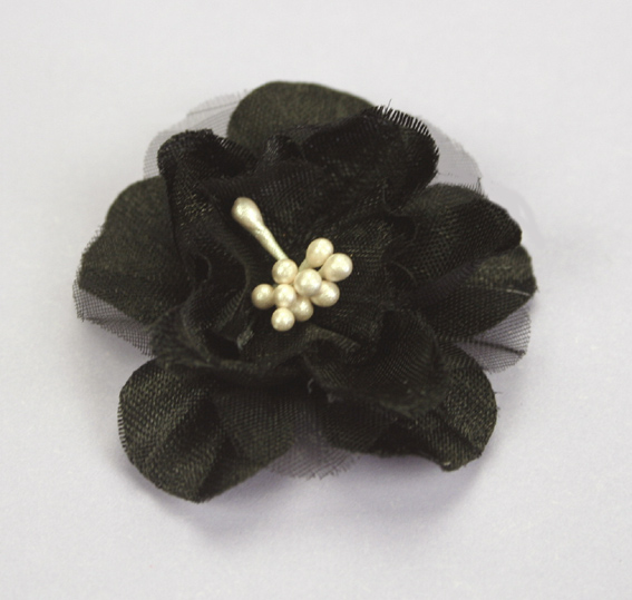 Heirloom 4cm Silk and Organza 12pcs Black