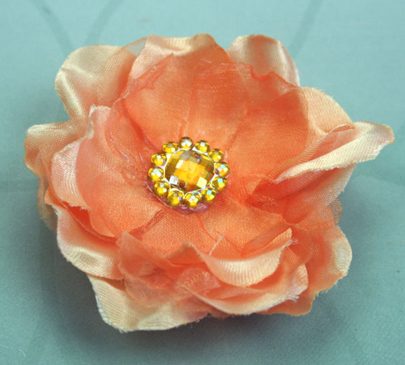 *NEW* Wild Rose 7cm Silk and Organza Flower 12 pcs Apricot