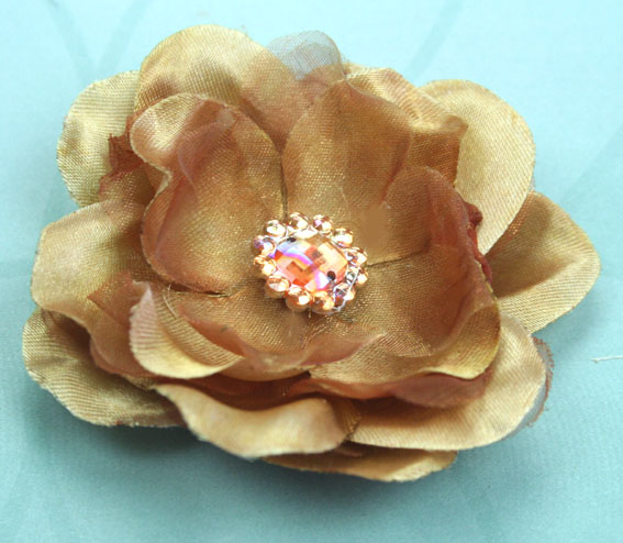 Wild Rose 7cm Silk and Organza Flower 12 pcs Coffee