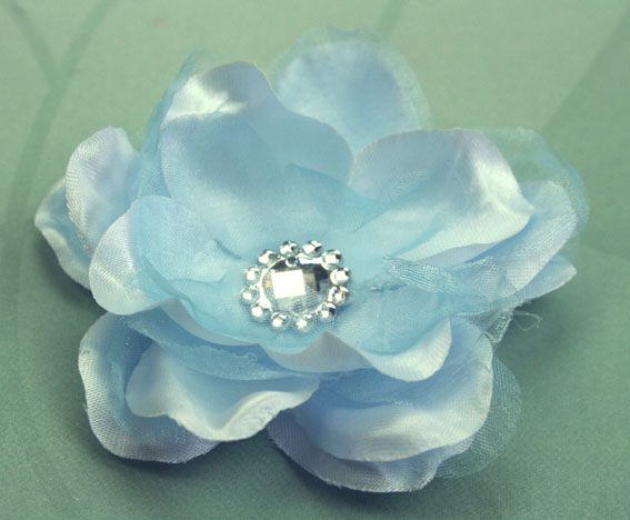 Wild Rose 7cm Silk and Organza Flower 12 pcs Pale Blue