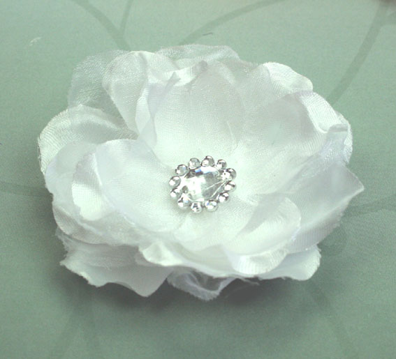 Wild Rose 7cm Silk and Organza Flower 12 pcs White