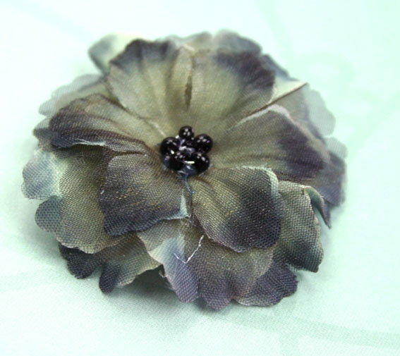 Primula 4.5cm Silk and Organza Flowers 12 pcs Black Grey