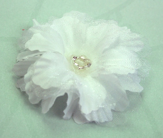 Primula 4.5cm Silk and Organza Flowers 12 pcs White