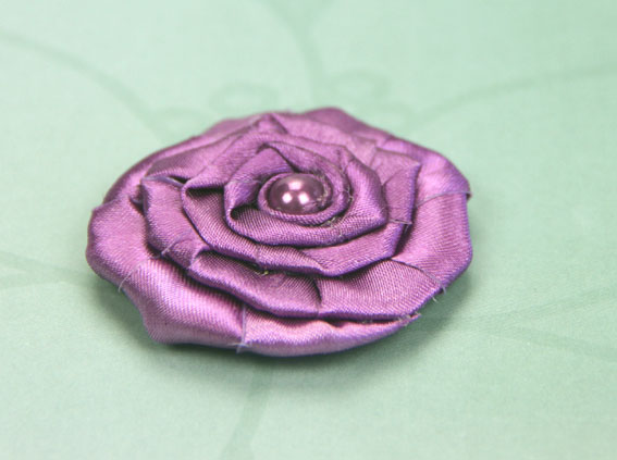Satin Rosette 5cm Satin and Pearl Flowers 12 pcs Amethyst