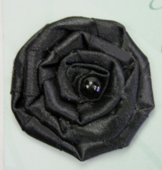 Satin Rosette 5cm Satin and Pearl Flowers 12 pcs Black