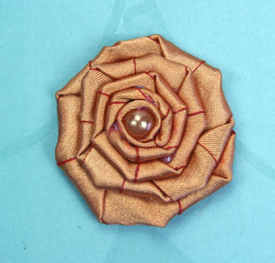 Satin Rosette 5cm Satin and Pearl Flowers 12 pcs Burnt Orange