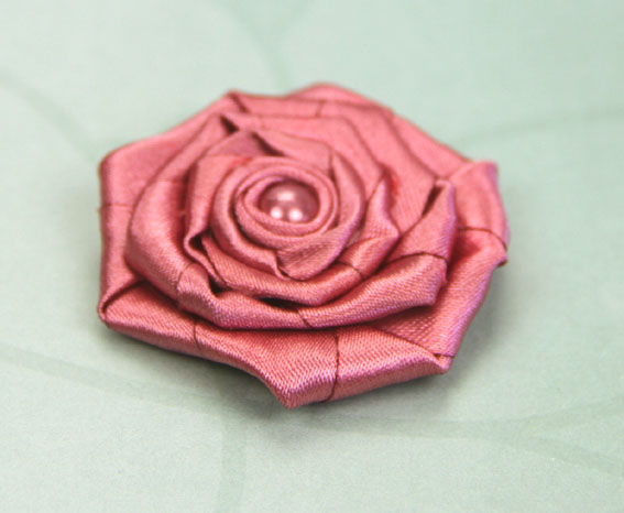 Satin Rosette 5cm Satin and Pearl Flowers 12 pcs Dark Rose