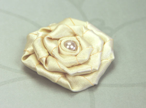 Satin Rosette 5cm Satin and Pearl Flowers 12 pcs Ivory