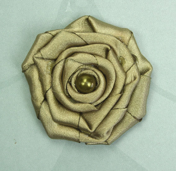 Satin Rosette 5cm Satin and Pearl Flowers 12 pcs Olive