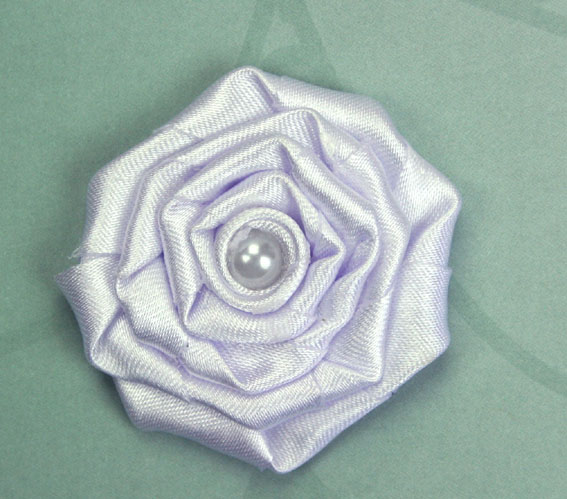 Satin Rosette 5cm Satin and Pearl Flowers 12 pcs White