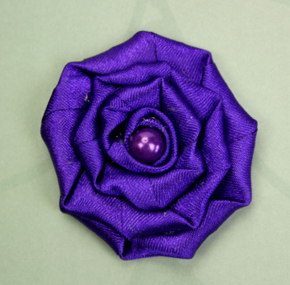 Satin Rosette 5cm Satin and Pearl Flowers 12 pcs Purple