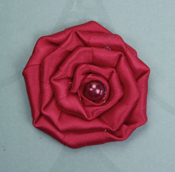 Satin Rosette 5cm Satin and Pearl Flowers 12 pcs Red