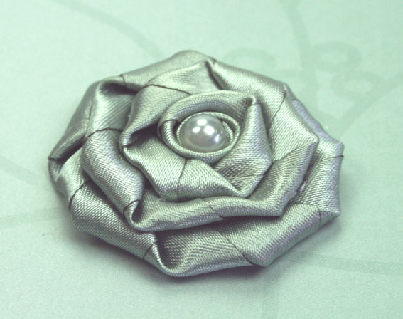Satin Rosette 5cm Satin and Pearl Flowers 12 pcs Sage