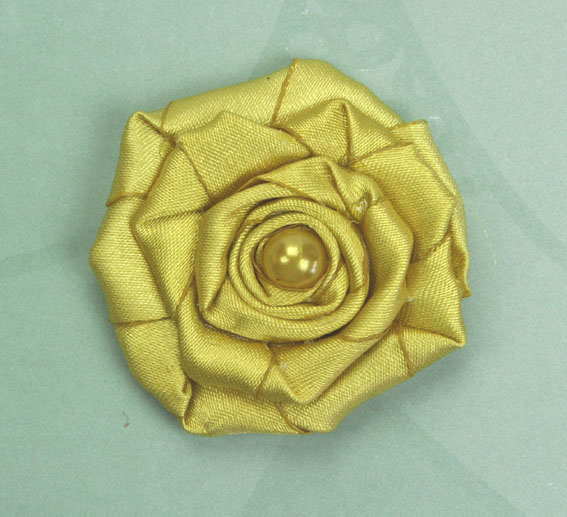 Satin Rosette 5cm Satin and Pearl Flowers 12 pcs Yellow Ochre