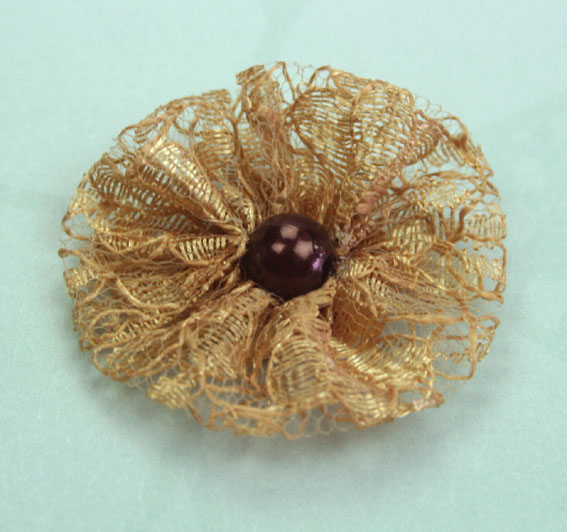 **NEW** Lace Pearl 3.5cm Lace Pearl Flowers 12 pcs Brown