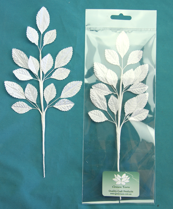 24cm Silk Leaf Spray White