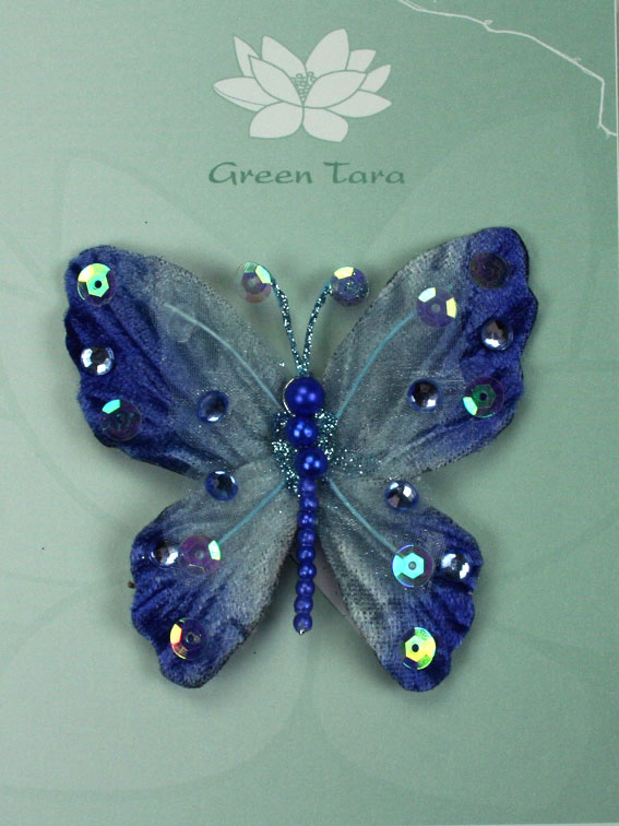 Rain Forest Velvet and Organza Butterfly 7cm Blue