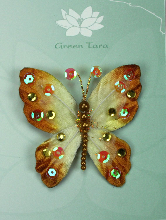 Rain Forest Velvet and Organza Butterfly 7cm Bronze