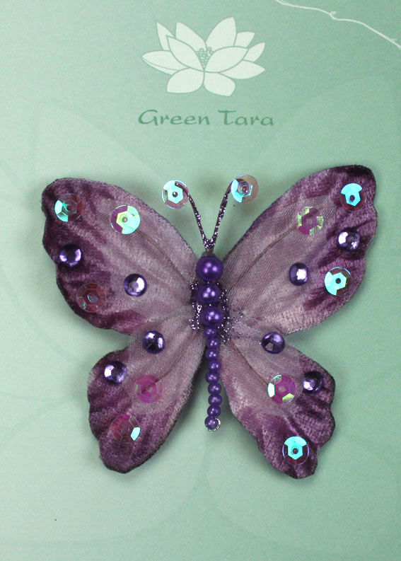 **NEW** Rain Forest Velvet and Organza Butterfly 7cm Lavender
