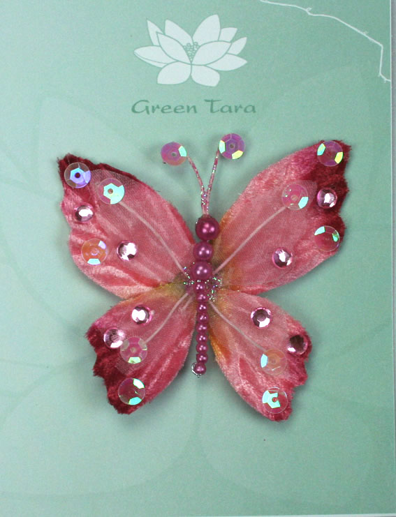 **NEW** Rain Forest Velvet and Organza Butterfly 7cm Pink