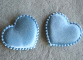 4cm Blue Satin Hearts