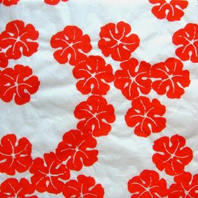 10 Sheets Red Hibiscus. White Milled Mulberry with Hibiscus Design