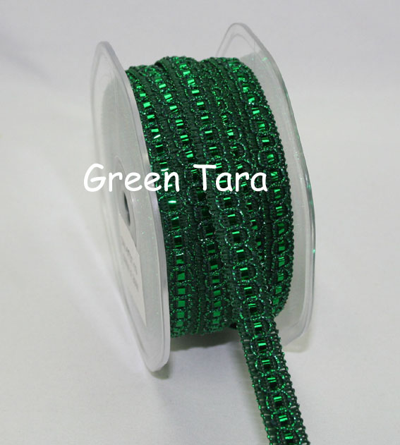 9mm Shimmer Threaded ribbon, Emerald 20m