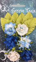 Tea Roses Pack of 6 Co-ordinated Roses 3cm with Leaves - Bright Blue