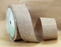38mm Linen Look Ribbon, 20 Metres Mushroom