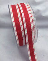 15mm Stitched Edge 20m Red