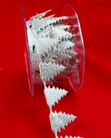 27mm Self Adhesive Christmas Trees 10 Metres, Glittery Silver