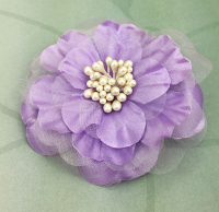 Heirloom 6.5cm Silk and Organza Flowers 12 pcs Lavender