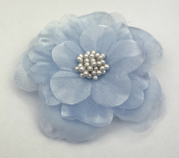 *New* Heirloom 6.5cm Silk and Organza Flowers Pale Blue 12pcs
