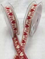 15mm Reversible Red/Natural Heart Ribbon 20m