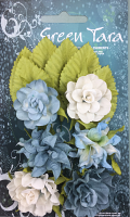 Tea Roses Pack of 6 Co-ordinated Roses 3cm with Leaves Blue