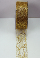 38mm Glitter Skeleton Mesh Ribbon 20 Metres, Gold
