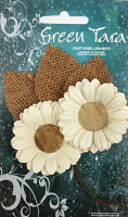 5cm Daisies - Pack of 2 with Burlap Leaves, Ivory