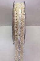 15mm Cotton Lace with Satin Thread 10m Cream Cream