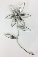 15cm Silver/Acrylic Stem - Flower and Leaves