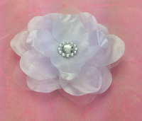 Wild Rose 7cm Silk and Organza Flower 12 pcs Bright White