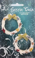 Xmas Wreath White 5cm. Pack of 2