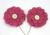 5cm Burlap Flower with Button 12 pcs Raspberry