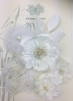 Fabric Flowers White Pearl pack