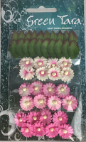 Pack of 24 Mimosas (1.5cm) & 20 Leaves (2cm), PINK