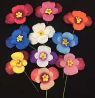 Paper Pansies Pack of 10 Assorted Colours 5.5cm