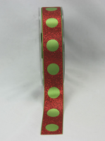 25mm Satin Circle Glitter Ribbon, 20m Lime/Red